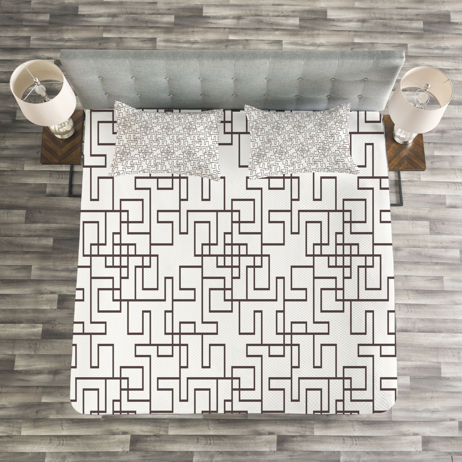 Geometric Quilted Bedspread & Pillow Shams Set, Abstract Modern Grid Print