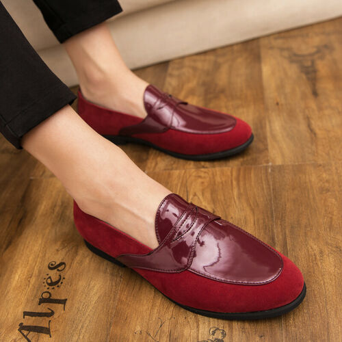 Mens Pointy Toe Leather Shiny Flat Stylish Casual Dress Nightclub Loafers Shoes
