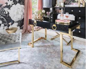 Details About Jonathan Adler Style Regency Black Gloss Desk Gold Hardware  Vanity Table Luxe