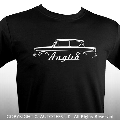 AUTOTEES T-SHIRT FOR RETRO FORD ANGLIA CLASSIC CAR ENTHUSIASTS