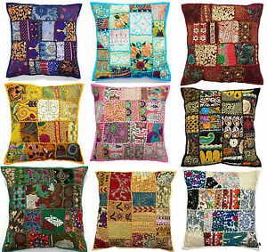 Vintage-Home-Decor-Floor-Pillow-Sequined-Patchwork-Cushion-Cover-40x40cms-16x16-034
