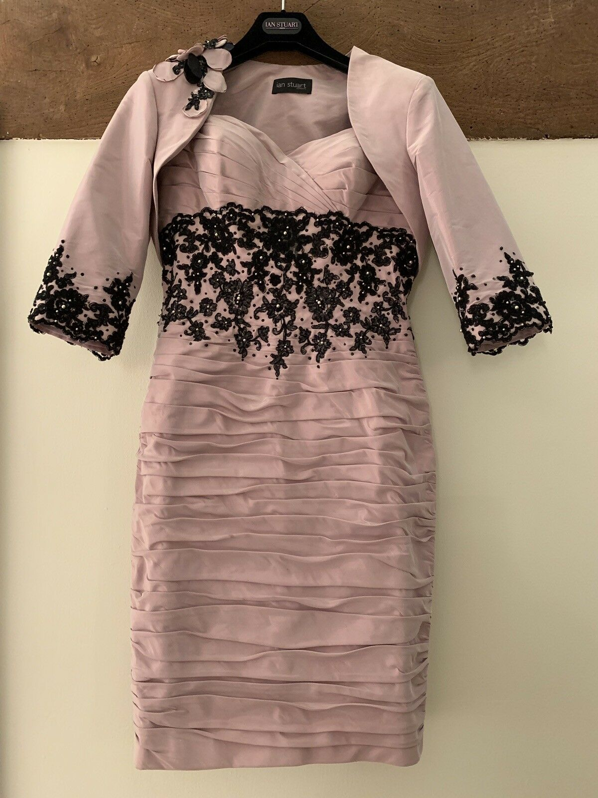 New Ian Stuart Mother Of The Bride Dress & Bolero Size 10 Dusty Pink/black