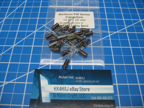 10uF 25V Radial Nichicon Electrolytic Capacitors 25 Pieces PW Series