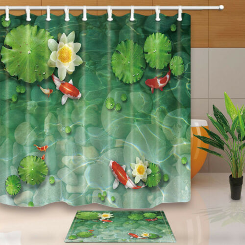 Water lily and koi Shower Curtain Bathroom Waterproof Fabric /& 12hooks 71*71in