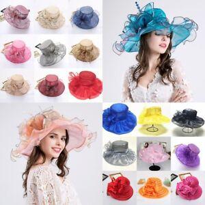 0cb91e5feca Elegant Lady Church Kentucky Derby Hat Sheer Wide Brim Dress Wedding ...