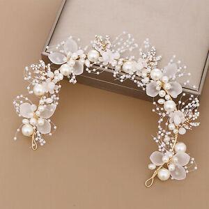 Big Flower White Pearl Crystal Hair Head Band Accessories Bridal Wedding US