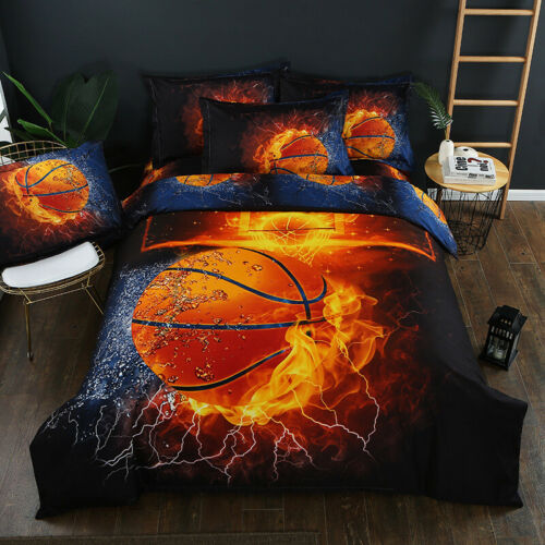 Sport Basketball Bedding Set Duvet Cover Pillow Cases Single Double King Black