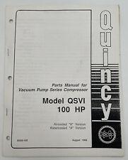 Quincy Vacuum Pump Series Compressor Parts Manual Qsvi 100 Hp Catalog Book 1152z
