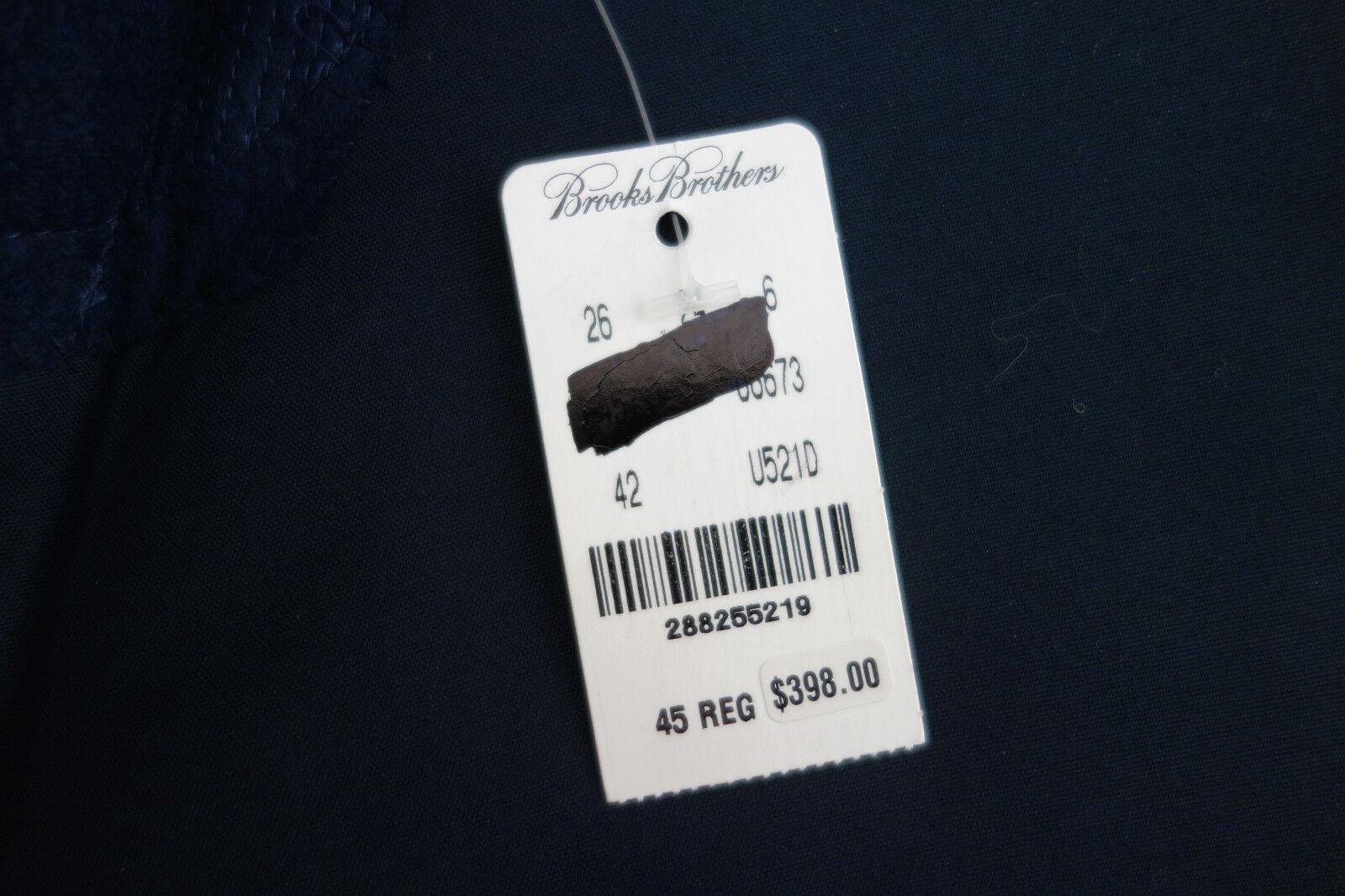 NWT Brooks Brothers Navy Blau BrooksCool Poplin Cotton Blazer 45R MSRP 398