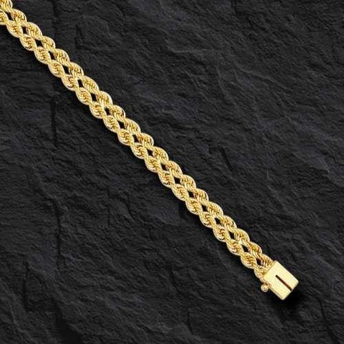 14k Yellow gold Two Strand Multi Line Rope Bracelet 7  3MM  3.7 grams