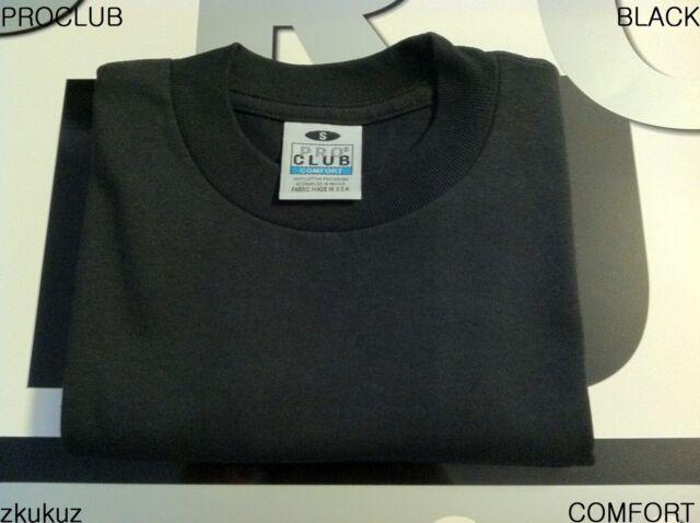 4ee26f07 6 NEW PROCLUB COMFORT PLAIN T-SHIRT BLANK BLACK TEE PRO CLUB LARGE L 6PC