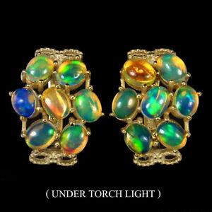 Unheated-Oval-Fire-Opal-Hot-Rainbow-Luster-5x4mm-925-Sterling-Silver-Earrings