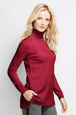 NWT Lands End Womens 100% Cashmere Turtleneck  Sweater 448853 Red M/P 10-12 $189