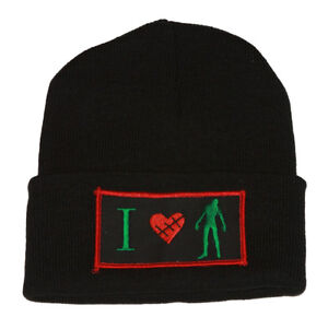 Winter-Knit-Black-Beanie-Cuff-I-Love-Zombie-3D-Patch-Embroidery