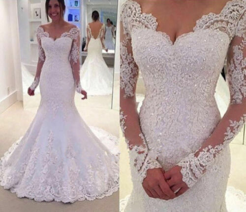 New White//Ivory Mermaid Lace Bridal Gown Long Sleeves Wedding Dresses Custom Sz