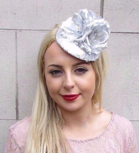 Silver Sequin Rose Flower Fascinator Pillbox Hat Races Wedding Hair Vintage 3979