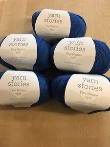 5 X 50g historias de hilo de lana Merino Fino 4ply para tejer /& Croché Lila