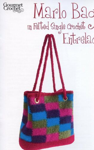 Marlo Bag in Felted Single Crochet Entrelac Gourmet Crochet Pattern NEW