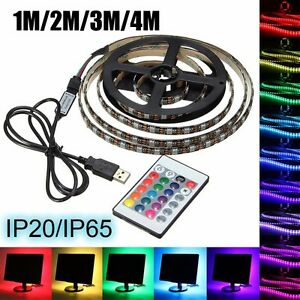 USB-5V-5050-60-SMD-M-RGB-LED-Luz-Tira-PC-TV-Background-Light-Kit-24-Key-Remote