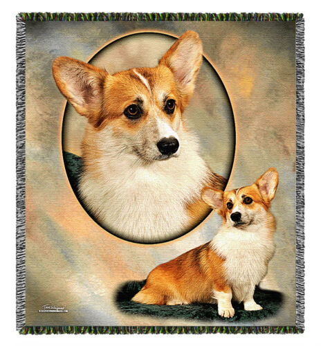 Pembroke Welsh Corgi Tom Weigand Dog Pooch Power Tapestry Throw Blanket