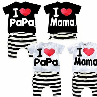 2PCS Baby Boy Girl Kids Toddler T-shirt Top+Pants Shorts Outfit Clothes Set 1-5Y