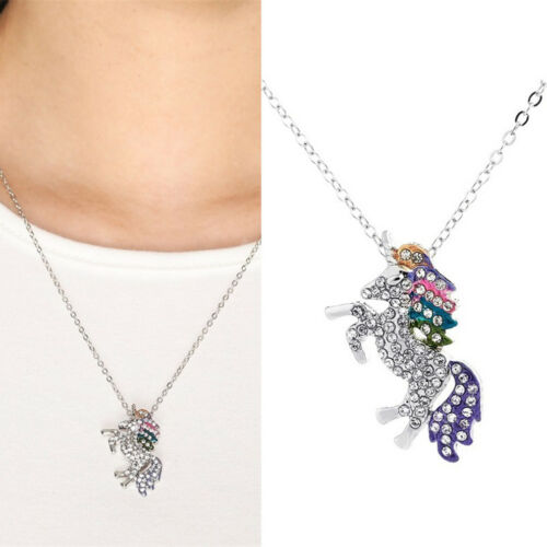 Women/'s Multicolored Crystal Unicorn Silver Necklace Pendant Sweater Chain CF