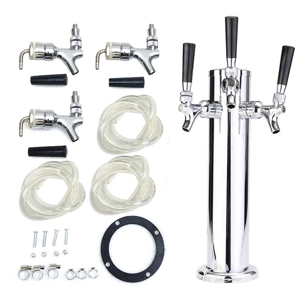 3 Taps Stainless Steel Draft Beer Tower Triple faucet F/Kegerator Beer Dispenser 6