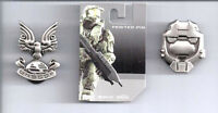 Halo 3 War Game Pewter Unscdf & Helmet Pewter Badge/pin Set Of 2