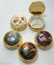 """(1) Cloisonne Enamel Round Hinged Pill Box 2"""" x 3/4"""" (RED & WHITE ONLY)"""