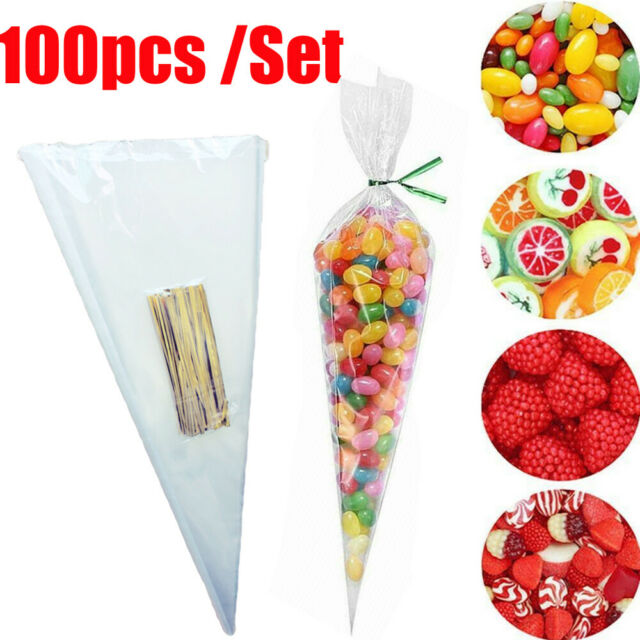 Medium //Small Cello Cone Sweet Treat Display Favor Gift Party Bags Clear Large
