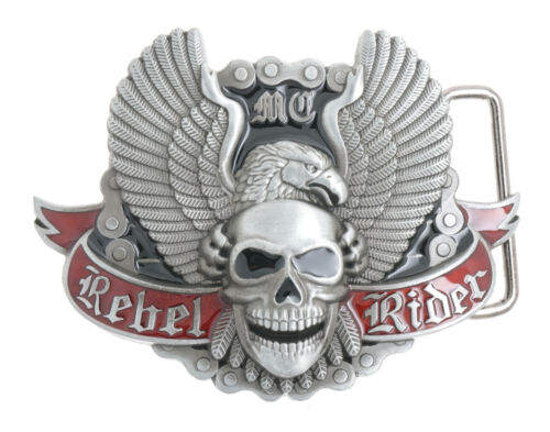 Rebel Rider Motorcycle Chain Eagle Skull Metal Belt Buckle