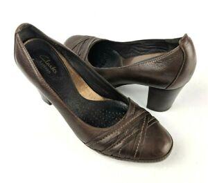 CLARKS-ARTISAN-Brown-Leather-Heels-8-Brown-Block-Heel-Pumps-Shoes