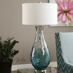 Blue Ombre Water Glass Table Lamp Brushed Nickel Finish Accents Tall