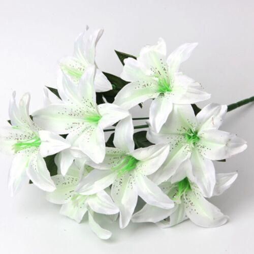 Haus Ostern Dekor Bunt hom 10 Köpfe Künstlich Lilie Seiden Blume Hochzeit Feier