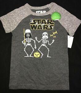 STAR WARS Toddler Boys' Darth Vader /& Stormtrooper S//S Tee Grey Glows Halloween