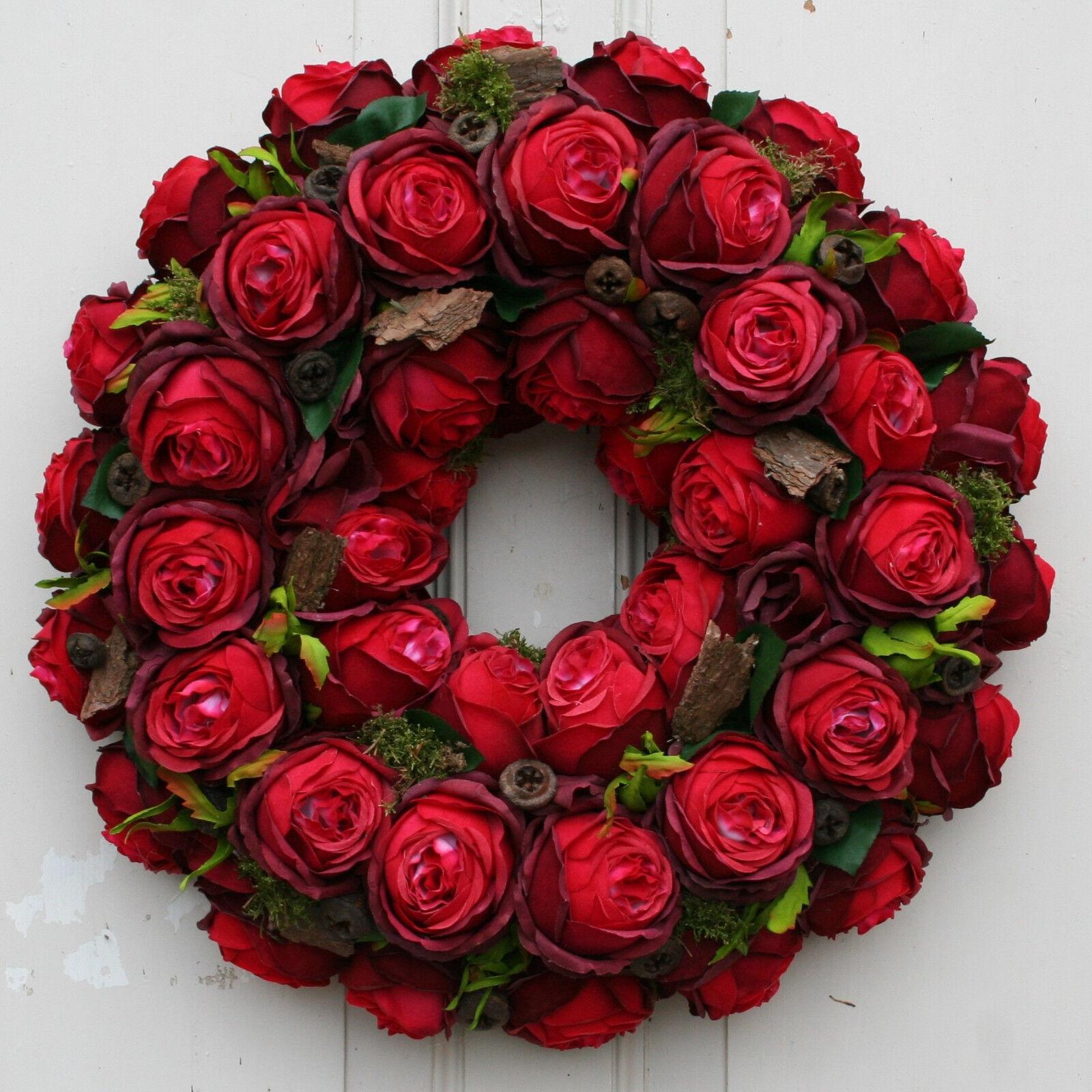 Türkranz Türkranz Türkranz Dekokranz Wandkranz Kranz Türdeko mit roten SeidenBlaumen Rosan 46 cm 39ef4d
