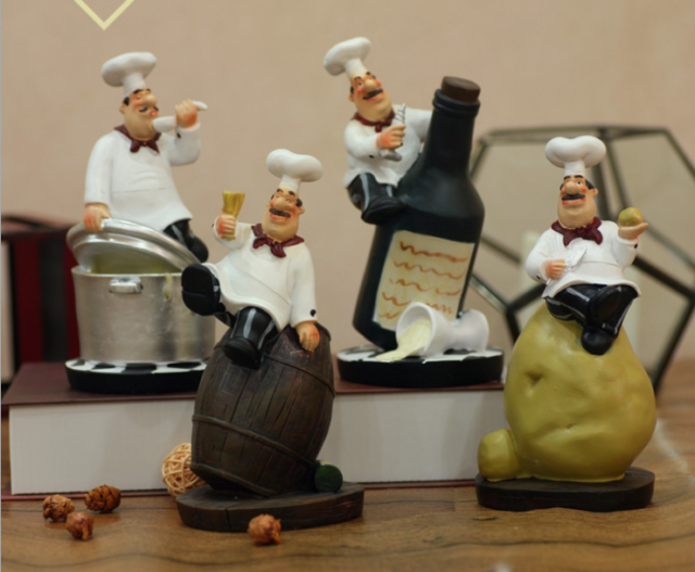Model Resin Chef Board Statue Restaurant Bar Cafe Kitchen Dining/&Bar Decorations