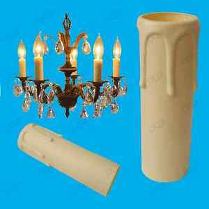 4x Ivory Drip Candle Sleeve Wax Effect Chandelier Light Bulb Cover 90mm x 27mm