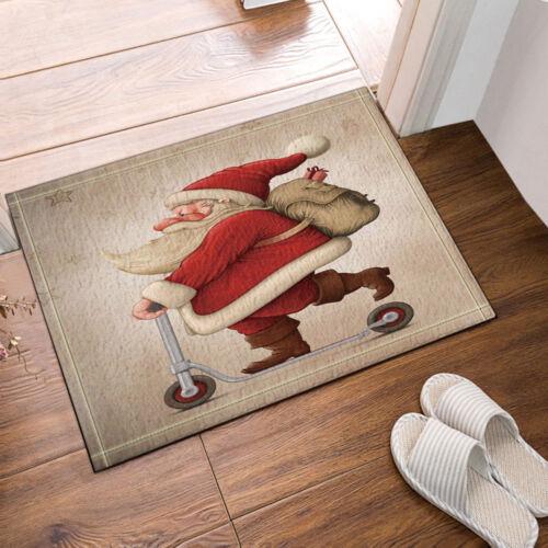 Santa Claus Sledding Christmas Bathroom Fabric Shower Curtain With Hooks 71Inch
