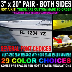 "Vessel Boat Registration Number 3/"" X 18/"" Lettering Decals Vinyl PAIR"