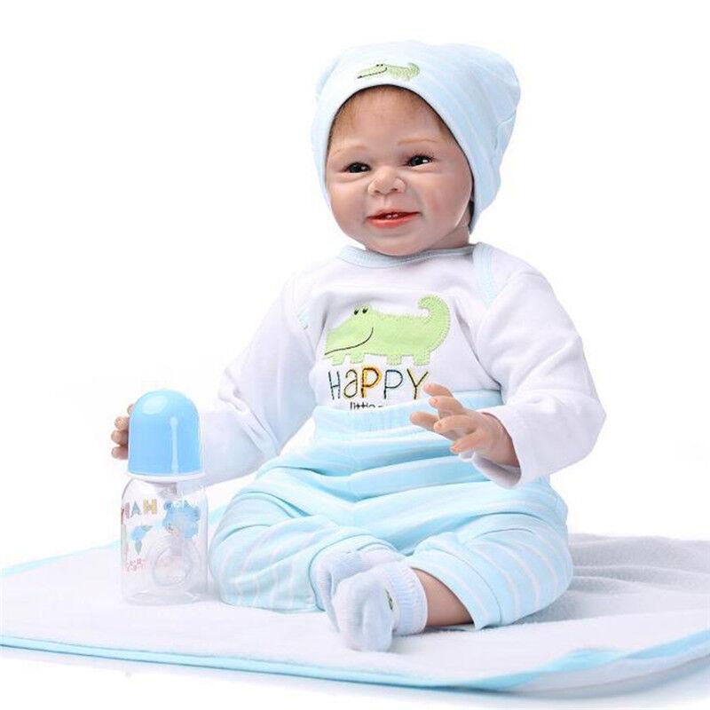 22in fatto a mano in silicone in vita rinati Boy bambini Doll bambole giocattolo neonato regalo