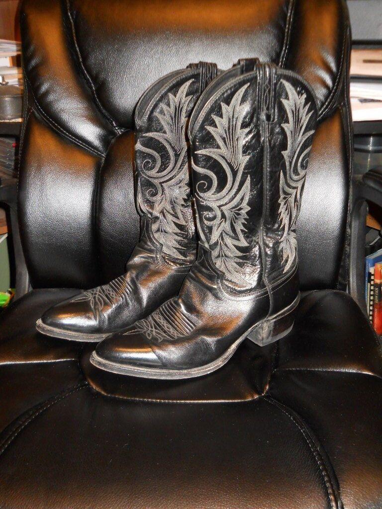 Dan Post Black Kangaroo Cowboy Boots 9.5D