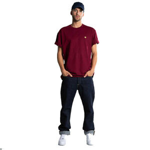 T-shirt-uomo-CARHARTT-WIP-S-S-Chase-I026391-100-cotone-jersey-Col-cranberry