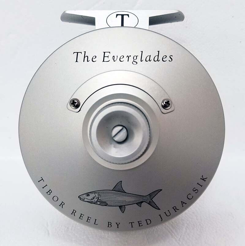 NEW TIBOR EVERGLADES FROST SILVER WITH BONEFISH ENGRAVING #7-9 FLY FISHING REEL