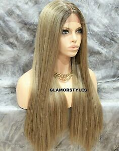 Ombre Brown /& Grey Human Hair Wig Unisex One Size.