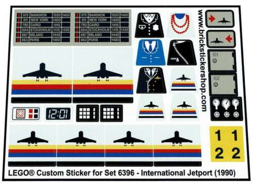 International Jetport Precut Custom Replacement Sticker for Lego Set 6396 199
