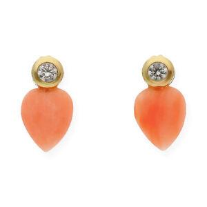 Castellano-Jewels-Pendientes-Mujer-Oro-de-Ley-18k-con-Coral-y-Circonitas