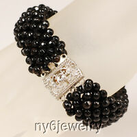 Faceted Round Black Onyx Beads Hand Beaded Silver Bracelet 8
