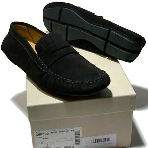 a2f2517269d NEW Armani Men s Black Leather Penny Loafers Driver s Suede Shoes 10 ...