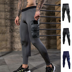 Men-039-s-Compression-Pants-Workout-Leggings-Gym-Basketball-Hiking-with-Side-Pocket